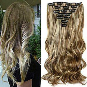 22″Full Clip Tête dans les Extensions de Cheveux Ombre Wavy Curly Dip Dye 7pcs Mix Blond Chatain