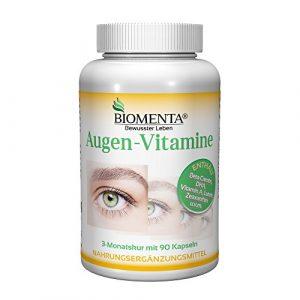 Biomenta VITAMINES POUR LES YEUX – avec Bêta-Carotène + Lutéine-Zéaxanthine + Vitamine A + Vitamine C + Vitamine E + Vitamines B + Zinc + Sélénium – 90 Gélules