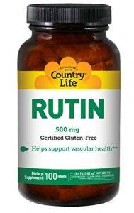 Country Life Rutine libre de Gluten ( Gluten Free Rutin ) 500mg x100tabs – Santé Vasculaire