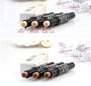 Highlighter Concealer Pen, fuhaoo Maquillage Double Extrémités Contour lumière Stylet Crème Hauteur Stick Correcteur Pen maquillée 1pc