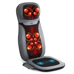 INTEY Siège de Massage Vibratoin Coussin Massant Shiatsu Massage du Dos Cou Epaule Matelas de Massage Pétrissage Roulement Chauffage Infrarouge Pour Fauteuil Maison Bureau