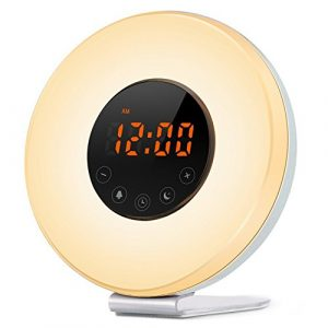irealist Touch Control Alarm Clock, Sunrise Simulation Wake-up Light With Optional RVB Night Light, radio FM & Snooze Function
