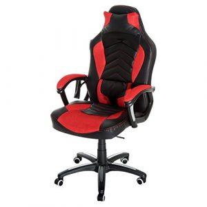 Luxe fauteuil/chaise de bureau avec fonction de massage et de réchauffage chauffant modèle de course rouge et noir 19rd