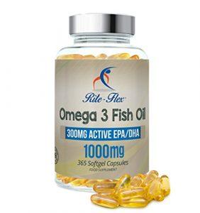 Omega 3 l'Huile de poisson 1000mg 365 Soft Gel Capsule de Rite Flex (Réserve d'un an)
