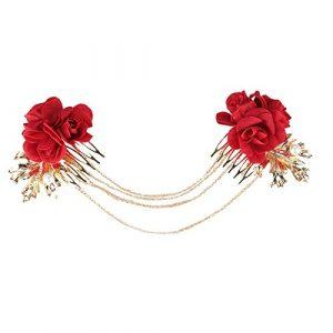 Rouge fleur mariée coiffure cheveux tête fleur pince à cheveux robe de mariée robe accessoires pour cheveux peigne à cheveux