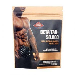 BETA TAN +/50 000 UI Bêta Carotène par dose – 180 gélules végétaliennes – Bronzage 100% naturel pour toutes les peaux
