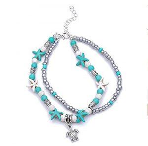 Christoopher Bracelet de cheville pendentif de tortue de mer de Mizhu Yoga de tortue de mer de double couche de cheville de bracelet de cheville