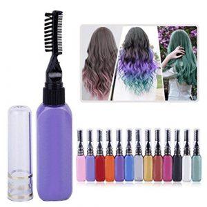 Ensemble de maquillage, comprenant teinture temporaire de cheveux non toxique de 15ml, mascara, brosse et peigne