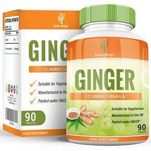 Extrait de Gingembre 12000mg – Extrait Haute Concentration 20:1 – Ginger Root – Convient aux Végétariens – 90 Comprimés (3 Mois d'Approvisionnement) de Earths Design