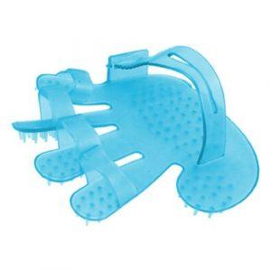 Forever Yung Palm Adjustable Belt Sky Blue Plastic Fitness Head Massage Glove Brush