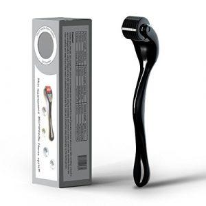 GiBot Derma Roller Micro Aiguille Roller 0.25 mm pour régénération de la peau, anti vieillissement Rides, cicatrices, vergetures, Soin Visage et Corps, étui de rangement inclus