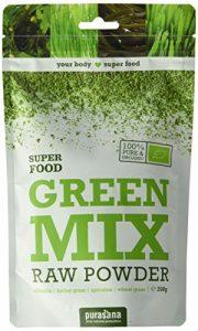 Green Mix Raw Powder Purasana Bio, poudre de spiruline chlorelle herbe de blé herbe d'orge, cru, sans gluten, sans additifs | 200 g | Purasana
