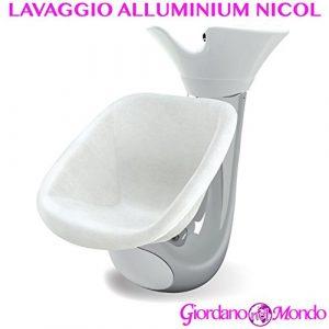 Rincer salon coiffeur et barbier alluminium Nicol Blanc ou Noir Ceriotti ameublement