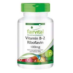 Vitamine B2 (riboflavine) 100mg – 100 comprimés- végétarien – vitamine aux mille et une vertus sur le métabolisme – soutient la musculation pour une meilleure performance