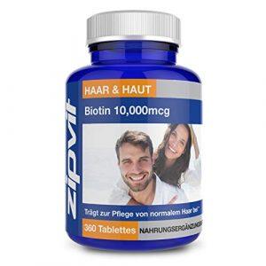 Biotine 10000mcg   360 comprimés   Haute Concentration   Pour des Cheveux Sains   RÉSERVES D'UNE ANNÉE ENTIÈRE