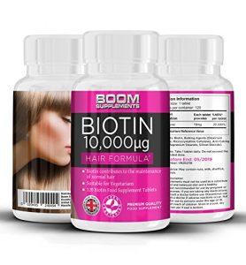 Biotine Cheveux (Vitamine B8) 10 000 mcg | 120 Biotin comprimés | cure de 4 mois | Meilleur Complément pour Favoriser la Croissance Rapide des Cheveux | Idéal : Femmes, Hommes, Végétariens