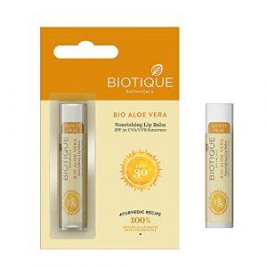 Biotique Bio Aloe Vera Baume nourrissant SPF 30 UVA solaire lèvres lisses 5g