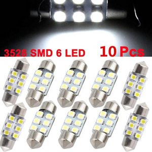 HKFV 10x Blanc 31mm Guirlande Dome Carte intérieur Lampe LED 3528de 6SMD Lampe de31753022Plaque d'immatriculation Lumières