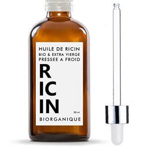 Huile de Ricin 100% Bio, Pure et Naturelle – 50 ml – Soin pour Cheveux, Cils, Ongles, Peau.