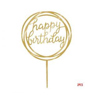 InisIE Ronde Joyeux Anniversaire Forme de gâteau Acrylique d'or Twinkle Glitter Bricolage Petit gâteau gâteau Smash Bougie à la Main Party bâton