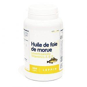 LEPPIN – Huile de FOIE DE MORUE – 200 comprimés – Oméga 3 + Vitamnies A et D – Certifié SANS MÉTAUX LOURDS – Compléments alimentaires naturels
