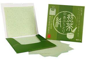 Papiers matifiants – oil control blotting paper – Thé Vert, 8.3cm x 8.3cm, 100 feuilles (50 X 2 pack)