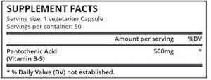 Pure Science Acide Pantothénique 500mg (Vitamine B5) – Soulagé les Allergies, traitement de l'acné &Soutien Cardiovasculaire – 50 Capsules Végétariennes