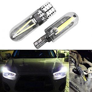 T10Largeur Lampe, HKFV 2x ti0LED W5W 168194T10COB 3W clair Verre à ampoules Car Lamp