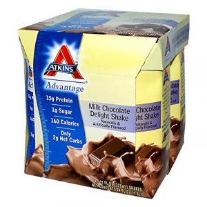 Atkins, Avantage, Shake de chocolat au lait délice, 4 Shakes, 11 oz (325 ml) de chaque