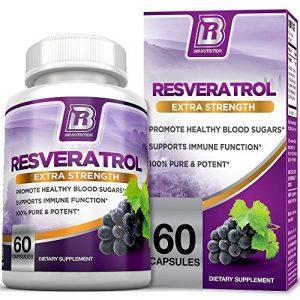 BRI Nutrition Resveratrol – 1200mg Maximum Strength Supplement – 30 Day Supply – 60 Veggie Capsules – 2 Capsules Per Serving