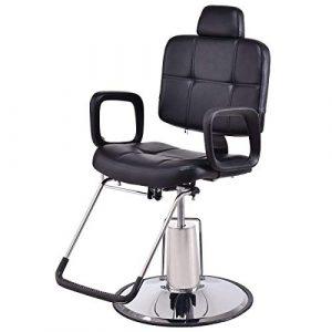 COSTWAY Fauteuil de Coiffeur Fauteuil de Coiffure en PU Cuir Hydraulique Inclinable Chaise 90x60x(98~110)cm Noir