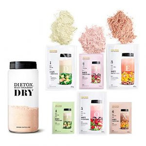 Dietox Dry Régime Complet – 6 jours de substitution complète à base de smoothise/Milk-shakes de protéines végétales. Shaker Incl.