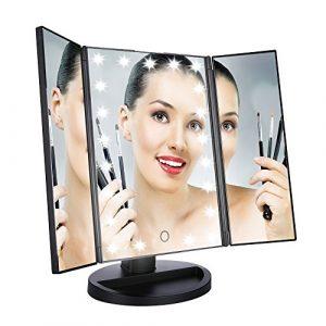 easehold Miroir cosmétique, Miroir de maquillage avec éclairage, écran tactile, miroir sur pied Make Up miroir illumine avec 21LED Lumière, pliable miroir de maquillage miroir grossissant pivotant à 180°, grand, noir