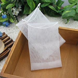Gaeruite Sac de savon, sac de maille de savon fait à la main de mousse de savon de bulle de savon, perles de Bath éponge de savon de sac de filet (10 pcs)