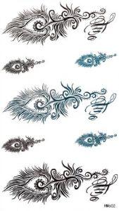 GGSELL GGSELL imperméables non TONIX tatouages temporaires autocollants belles plumes noires et bleues