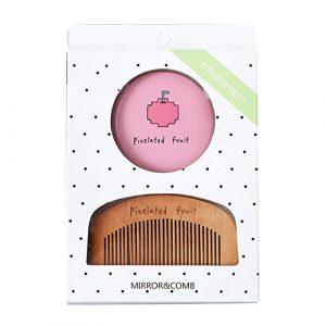 Heflashor Miroirs de Poche Simple Une Face avec Petit Peigne Accessoire de Maquillage Voyage Cadeau pour femmes enfants Noël
