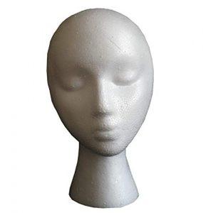 irrégulières col Blanc Tête de mannequin Présentoir en Polystyrène Mannequin Perruque support