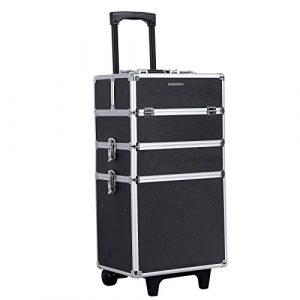 Songmics® Malette Maquillage trolley 4-in-1 Aluminium boîte à maquillage Beauty Case professionnel Noir JHZ01B