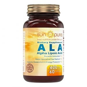 Sun Pure Premium Quality Alpha Lipoic Acid 600 Mg Capsules, 60 Capsules Glass Bottle -*Powerful Antioxidant -*Helps Neutralize free radicals -*Supports metabolism & Energy Production