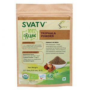 SVATV Triphala Poudre 1/2 LB, 08 oz, 227g USDA Certified – Poche de fermeture à glissière refermable biodégradable – Formule équilibrante pour la détoxification et le rajeunissement *