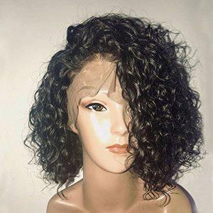 Bob Perruque Femme Naturelle 100% Cheveux Humains Bresiliens Ondulé Deep Wave – Lace Front Frontal Wig Naturel Human Hair (Densité: 150%)