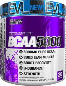 Evlution Nutrition BCAA 5000 | Supplément En Poudre Contenant 5 Grammes de BCAA de Haute Qualité | 30 Dosages | A Saveur De Raisins Sauvages