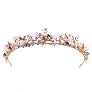 Hbshe mariée Couronne coloré Headwear Femme Bijoux Mariage Princesse Diadème Cristal Rose