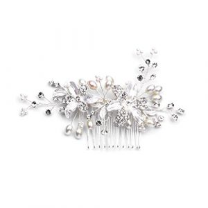 Hbshe mariée Peigne à cheveux cristal Perle Floral de luxe Headwear Femme Bijoux Mariage