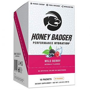Honey Badger Performance Hydration Natural Post Workout Caffeine Free (Wild Berry, Naturally Flavored, 10 Packets, Sucralose Free, No Artificial Colors or Sweeteners, AlphaSize ® Alpha-GPC)