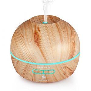 Huile essentielle Diffuseur d'arômes 300ml avec mode de brumisation réglable humidificateur à ultrasons Cool Mist diffuseurs avec 7couleurs lumières LED gratuit Verre gradué, Wood Grain Motif
