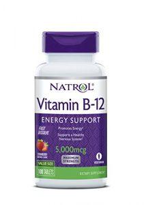 Natrol Vitamine B12à dissolution rapide compléments nutritionnels, fraise, 5000mcg, 100comprimés