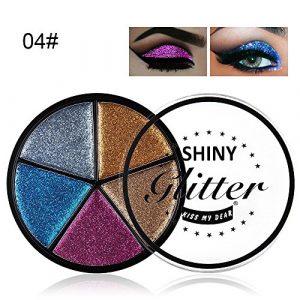 Pallette Fards à Paupière,5 couleurs Glitter Eye Shadow poudre palette imperméable à l'ombre mat fard à paupières maquillage cosmétique Pallette Fards à Paupière (D)