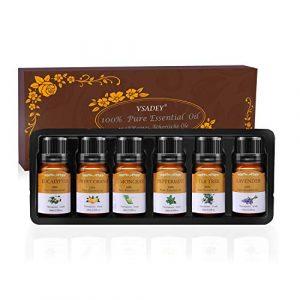Vsadey Huiles Essentielles Aromathérapie Naturelle 100% Pures 6 * 10ml Spa Huile Essentielle Parfumées Bio pour Diffuseurs (Orange, Lavande, Arbre à Thé, Citron, Eucalyptus et Menthe Poivrée)