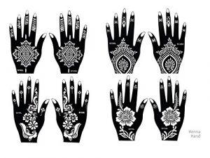 8 Feuille Mehndi Tatouage Pochoir pour la main Mehndi Tatouages au henné – à usage unique – pour tatouage au henné, tatouage paillettes et aérographe tatouage